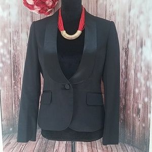 Loft Black Tuxedo Blazer with satin Trim Lapels